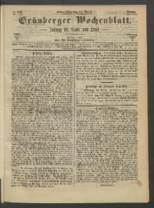 Grünberger Wochenblatt: Zeitung für Stadt und Land, No. 29. (13. April 1865)