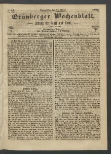Grünberger Wochenblatt: Zeitung für Stadt und Land, No. 33. (27. April 1865)
