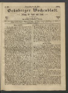 Grünberger Wochenblatt: Zeitung für Stadt und Land, No. 37. (11. Mai 1865))