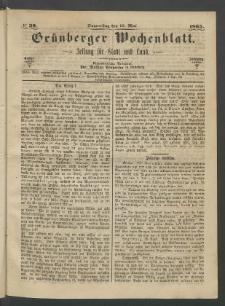 Grünberger Wochenblatt: Zeitung für Stadt und Land, No. 39. (18. Mai 1865)