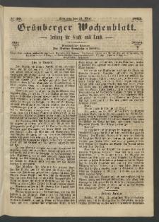 Grünberger Wochenblatt: Zeitung für Stadt und Land, No. 40. (21. Mai 1865)