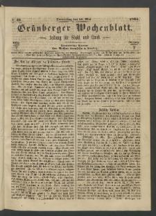 Grünberger Wochenblatt: Zeitung für Stadt und Land, No. 41. (26. Mai 1865)