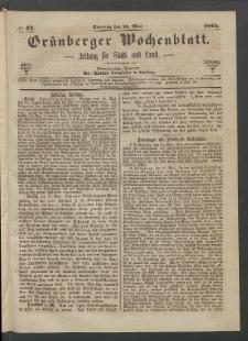 Grünberger Wochenblatt: Zeitung für Stadt und Land, No. 42. (28. Mai 1865)