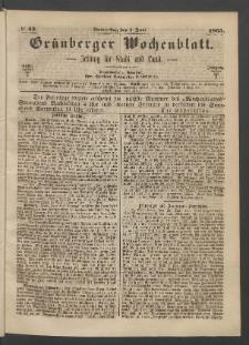 Grünberger Wochenblatt: Zeitung für Stadt und Land, No. 43. (1. Juni 1865)