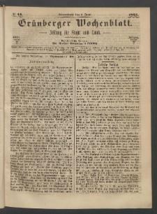 Grünberger Wochenblatt: Zeitung für Stadt und Land, No. 44. (3. Juni 1865)