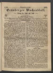 Grünberger Wochenblatt: Zeitung für Stadt und Land, No. 45. (7. Juni 1865)