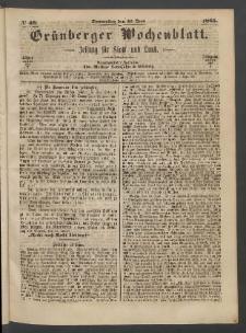 Grünberger Wochenblatt: Zeitung für Stadt und Land, No. 49. (22. Juni 1865)