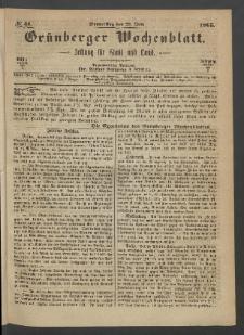 Grünberger Wochenblatt: Zeitung für Stadt und Land, No. 51. (29. Juni 1865)
