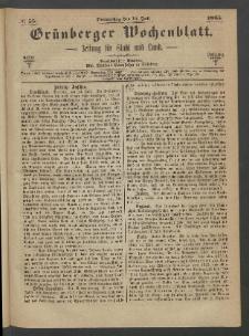 Grünberger Wochenblatt: Zeitung für Stadt und Land, No. 55. (13. Juli 1865)