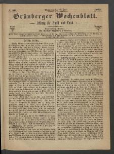 Grünberger Wochenblatt: Zeitung für Stadt und Land, No. 56. (16. Juli 1865)