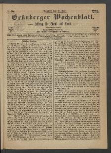 Grünberger Wochenblatt: Zeitung für Stadt und Land, No. 58. (23. Juli 1865)
