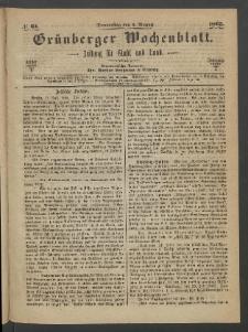 Grünberger Wochenblatt: Zeitung für Stadt und Land, No. 61. (3. August 1865)