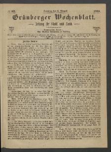 Grünberger Wochenblatt: Zeitung für Stadt und Land, No. 62. (6. August 1865)