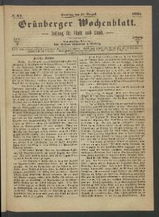 Grünberger Wochenblatt: Zeitung für Stadt und Land, No. 64. (13. August 1865)