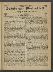 Grünberger Wochenblatt: Zeitung für Stadt und Land, No. 65. (17. August 1865)