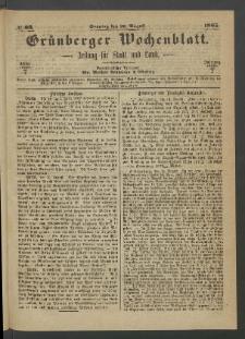 Grünberger Wochenblatt: Zeitung für Stadt und Land, No. 66. (20. August 1865)