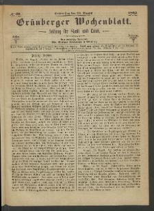 Grünberger Wochenblatt: Zeitung für Stadt und Land, No. 67. (24. August 1865)