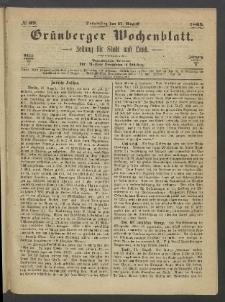 Grünberger Wochenblatt: Zeitung für Stadt und Land, No. 69. (31. August 1865)