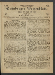 Grünberger Wochenblatt: Zeitung für Stadt und Land, No. 70. (3. September 1865)