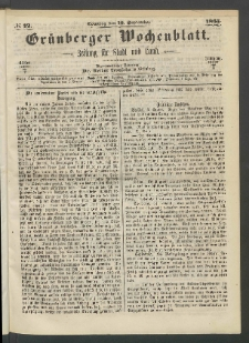 Grünberger Wochenblatt: Zeitung für Stadt und Land, No. 72. (10. September 1865)