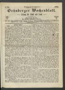 Grünberger Wochenblatt: Zeitung für Stadt und Land, No. 74. (17. September 1865)