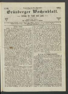 Grünberger Wochenblatt: Zeitung für Stadt und Land, No. 75. (21. September 1865)