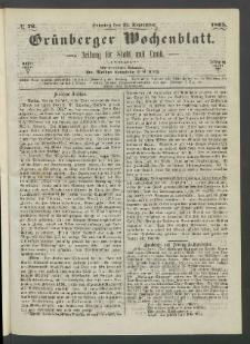 Grünberger Wochenblatt: Zeitung für Stadt und Land, No. 76. (24. September 1865)