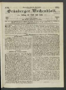 Grünberger Wochenblatt: Zeitung für Stadt und Land, No. 77. (28. September 1865)