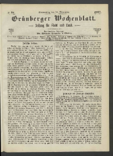 Grünberger Wochenblatt: Zeitung für Stadt und Land, No. 91. (16. November 1865)