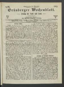 Grünberger Wochenblatt: Zeitung für Stadt und Land, No. 92. (19. November 1865)