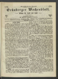 Grünberger Wochenblatt: Zeitung für Stadt und Land, No. 93. (23. November 1865)