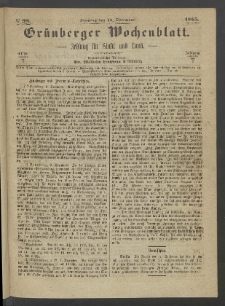 Grünberger Wochenblatt: Zeitung für Stadt und Land, No. 98. (10. December 1865)