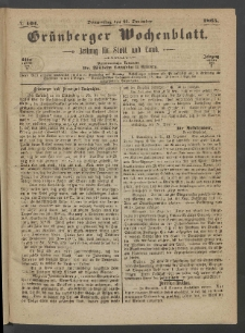 Grünberger Wochenblatt: Zeitung für Stadt und Land, No. 101. (21. December 1865)