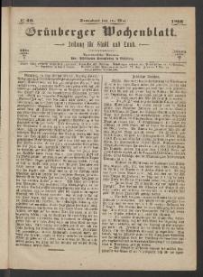 Grünberger Wochenblatt: Zeitung für Stadt und Land, No. 40. (19. Mai 1866)