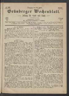Grünberger Wochenblatt: Zeitung für Stadt und Land, No. 50. (24. Juni 1866)