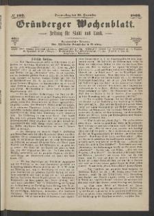 Grünberger Wochenblatt: Zeitung für Stadt und Land, No. 102. (20. Dezember 1866)