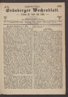 Grünberger Wochenblatt: Zeitung für Stadt und Land, No. 2. (6. Januar 1867)