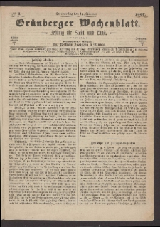 Grünberger Wochenblatt: Zeitung für Stadt und Land, No. 3. (10. Januar 1867)