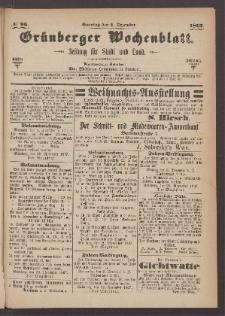 Grünberger Wochenblatt: Zeitung für Stadt und Land, No. 96. (1. Dezember 1867)