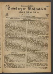 Grünberger Wochenblatt: Zeitung für Stadt und Land, No. 84. (18. October 1868)