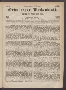 Grünberger Wochenblatt: Zeitung für Stadt und Land, No. 6. (21. Januar 1869)