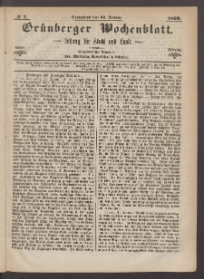 Grünberger Wochenblatt: Zeitung für Stadt und Land, No. 7. (23. Januar 1869)