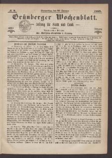 Grünberger Wochenblatt: Zeitung für Stadt und Land, No. 8. (27. Januar 1869)