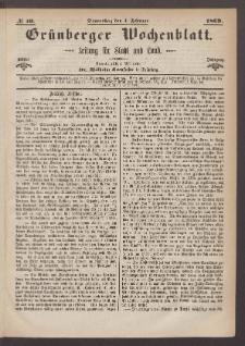 Grünberger Wochenblatt: Zeitung für Stadt und Land, No. 10. (4. Januar 1869)