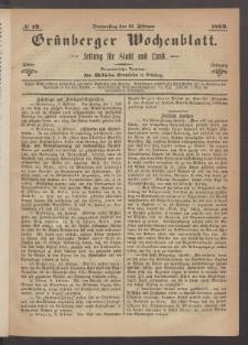Grünberger Wochenblatt: Zeitung für Stadt und Land, No. 12. (11. Februar 1869)