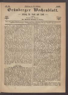 Grünberger Wochenblatt: Zeitung für Stadt und Land, No. 15. (21. Februar 1869)