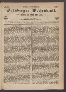 Grünberger Wochenblatt: Zeitung für Stadt und Land, No. 17. (28. Februar 1869)