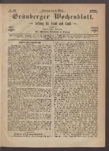 Grünberger Wochenblatt: Zeitung für Stadt und Land, No. 19. (7. März 1869)