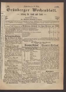Grünberger Wochenblatt: Zeitung für Stadt und Land, No. 20. (11. März 1869)