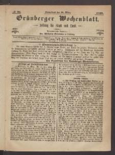Grünberger Wochenblatt: Zeitung für Stadt und Land, No. 25. (27. März 1869)